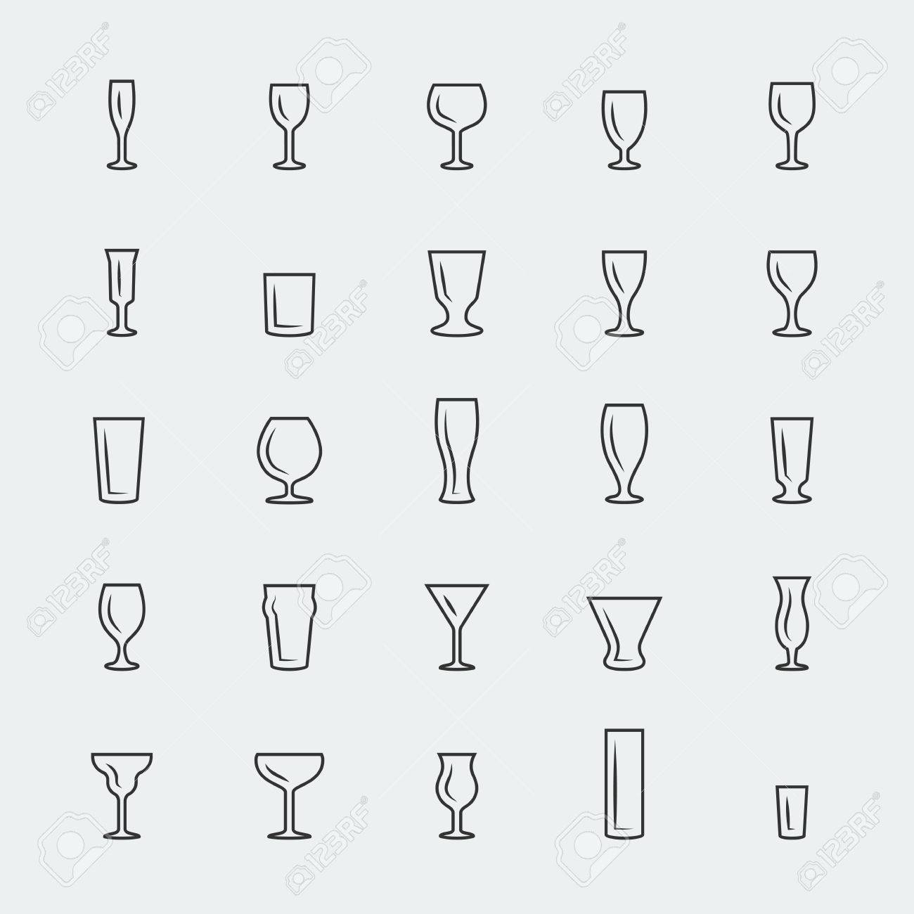 bar glasses vector icons set thin line royalty free cliparts  - bar glasses vector icons set thin line stock vector
