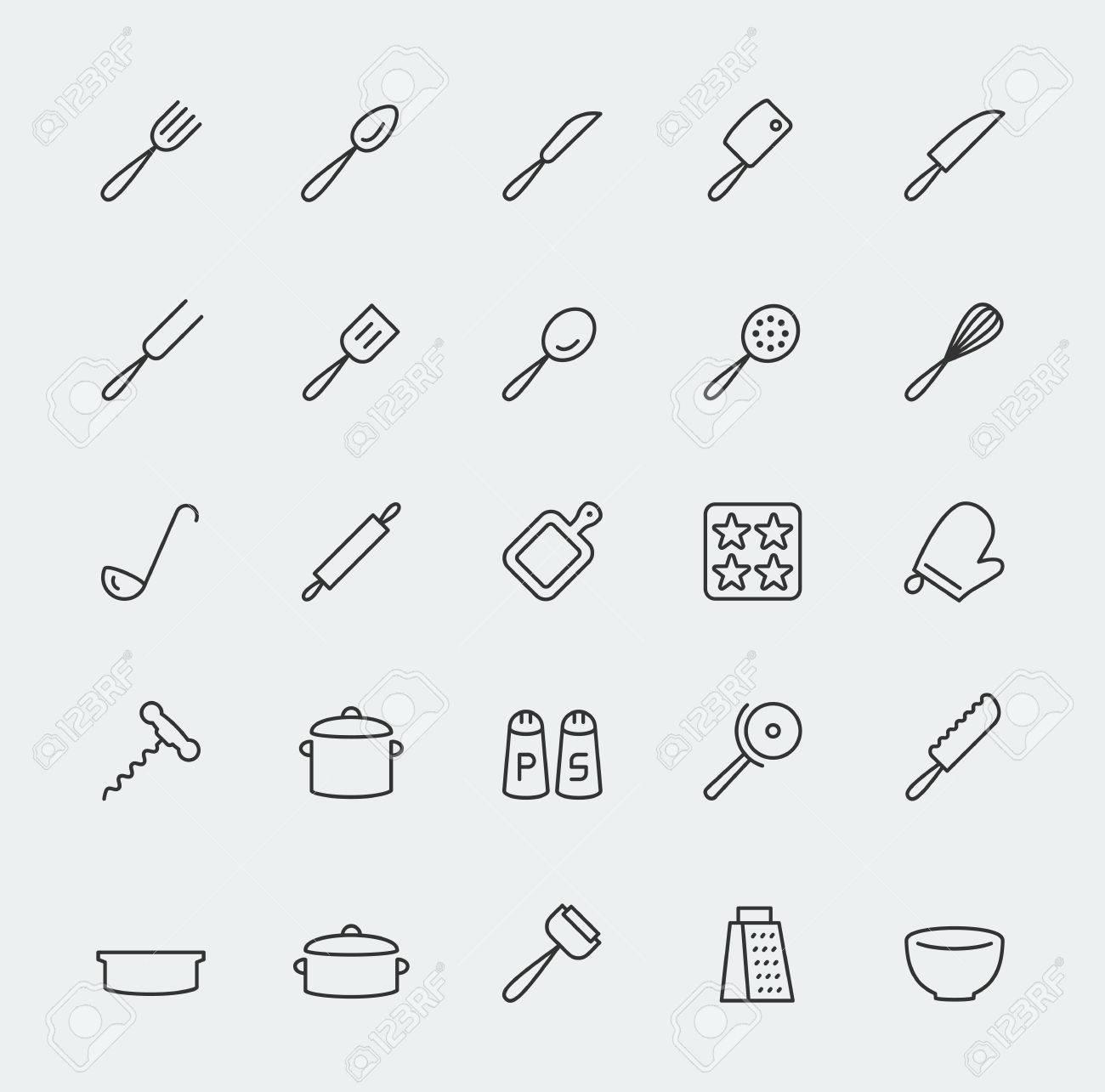 Kitchen Utensils Vector Icons Set Line Style Lizenzfrei Nutzbare