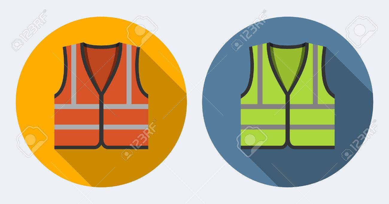 Orange and green safety vests icons, flat style - 34022977