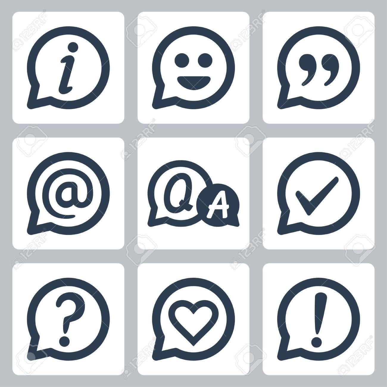 Symbols In Speech Bubbles Vector Icon Set Info Smile Quotation E Mail Faq Checkmark Question Mark Heart Exclamation Mark