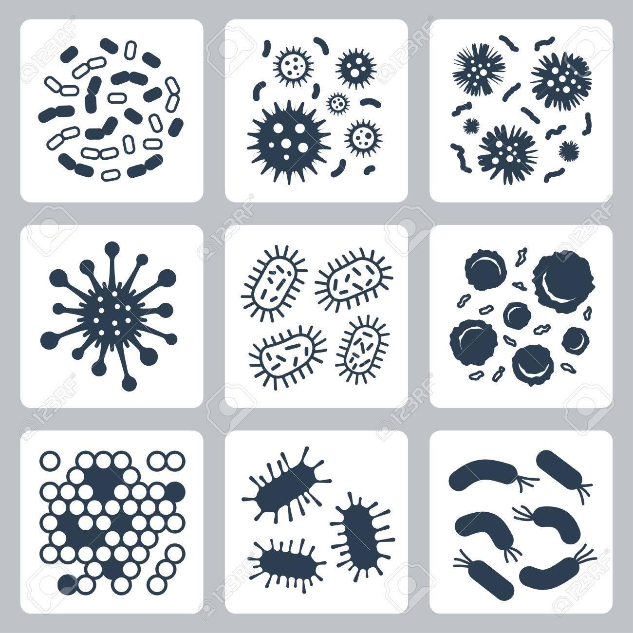 ベクトル細菌、微生物のアイコン...