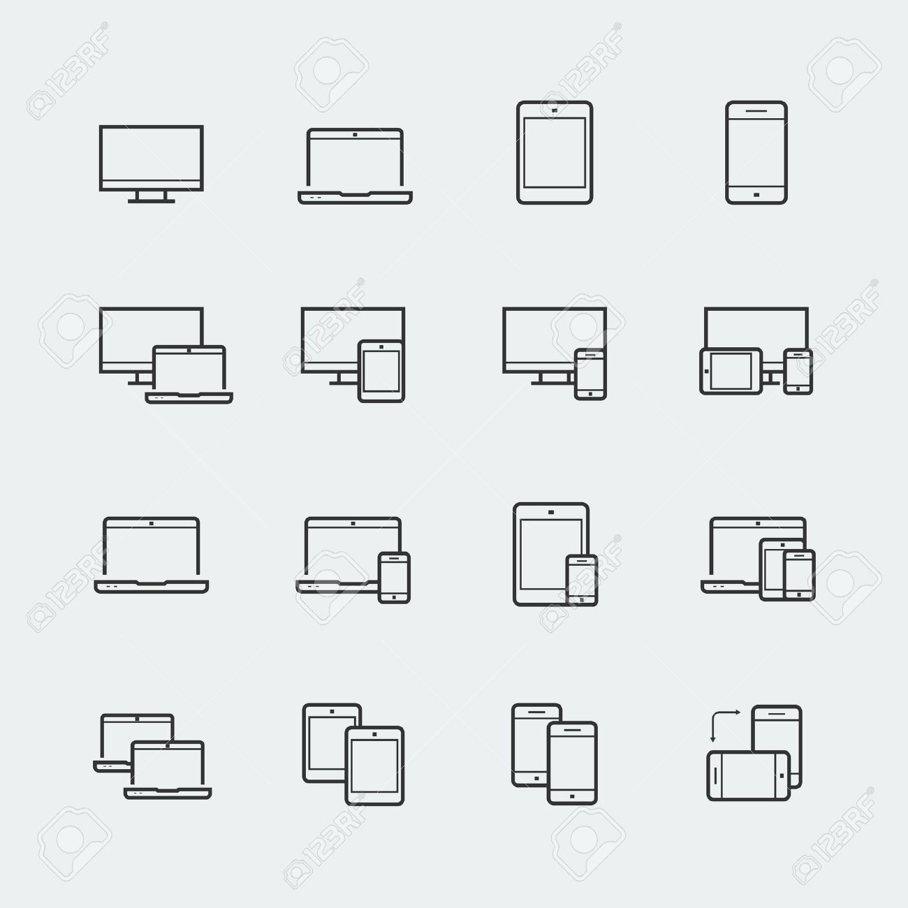 Responsive web design icons for computer monitor, smartphone, tablet and laptop - 43122295