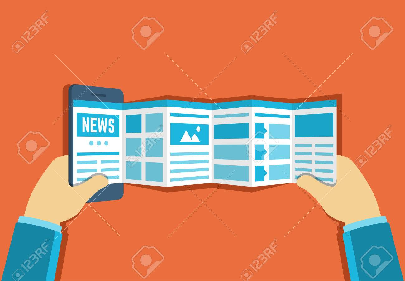 Vector illustration of online reading news or web surfing using smartphone - 43122313
