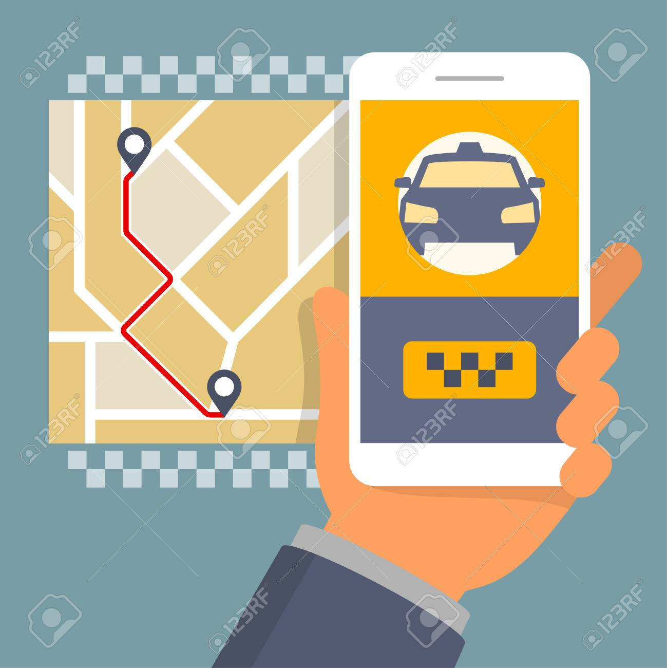Hand holding phone with taxi hire service app running, flat design illustration - 49649118