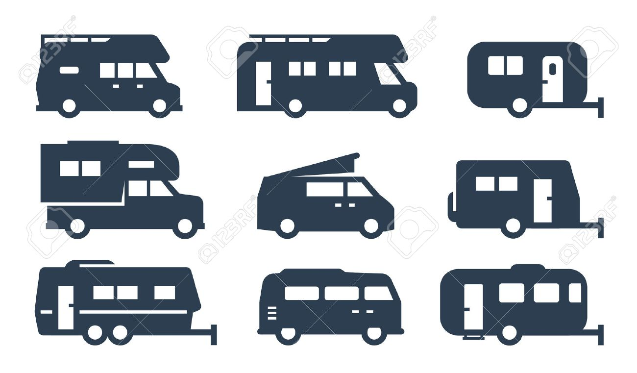 RV cars, recreational vehicles, camper vans icons - 49649732