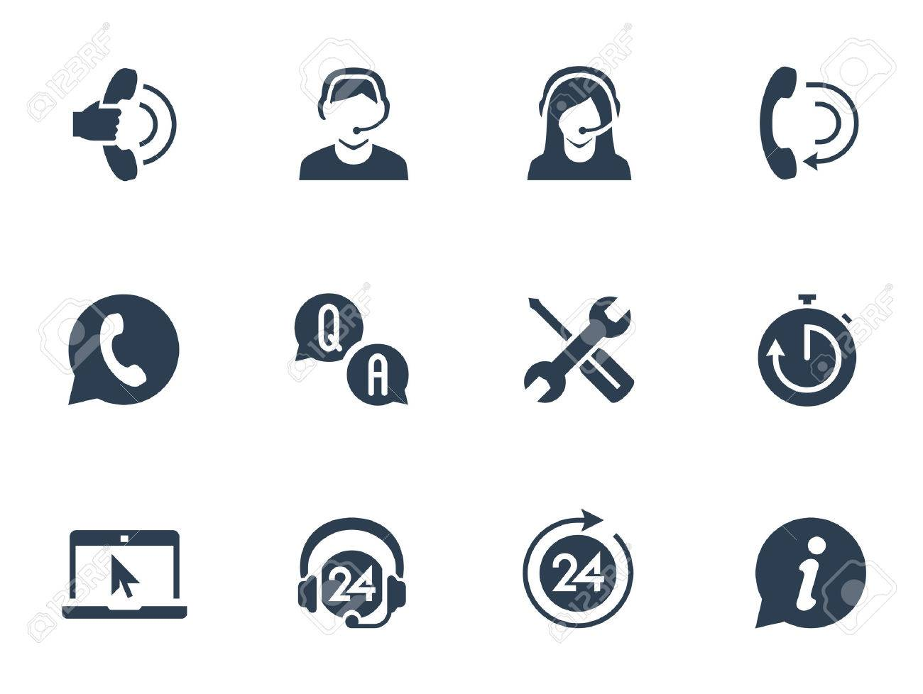Support service and telemarketing vector icon set - 49648200
