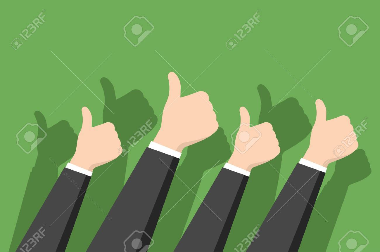 Thumbs-up on green background in flat design style. Positive feedback concept - 49649195