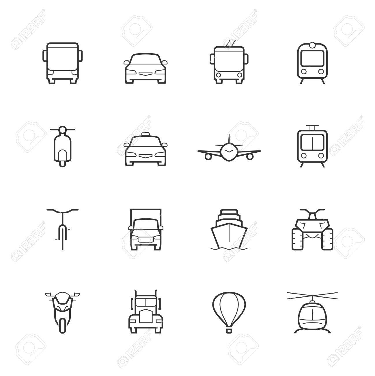 Transportation icons in thin line style, front view - 49649127