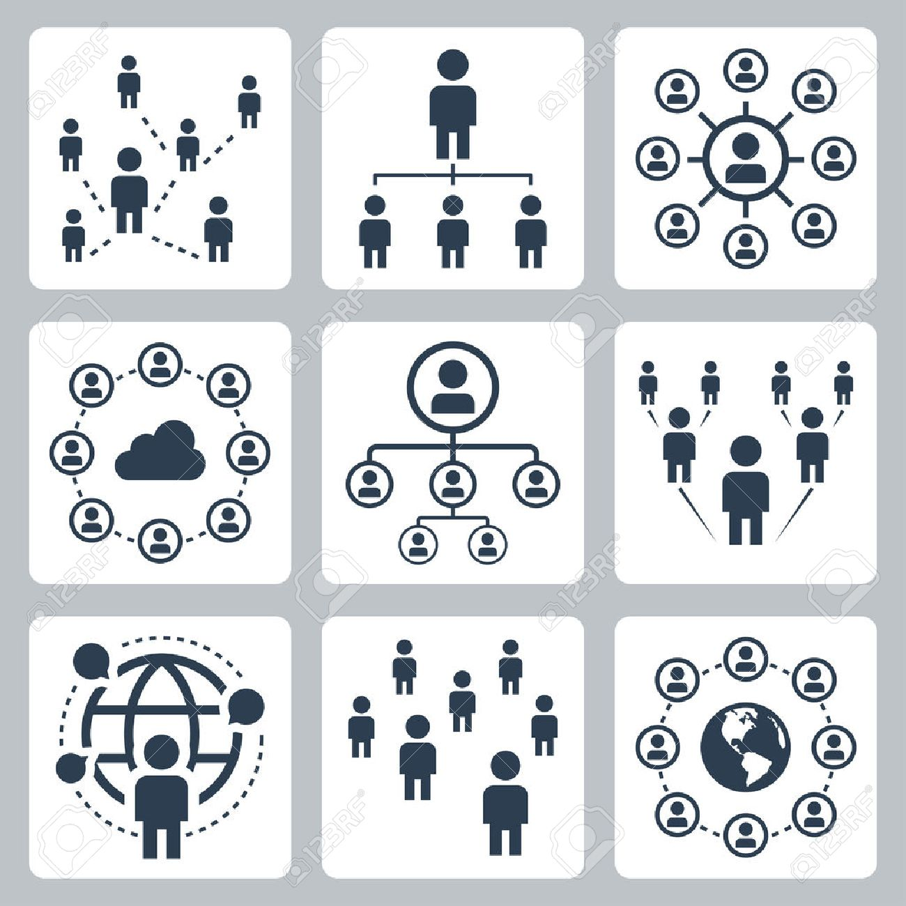 Social network, people and globalization icon set - 58518644