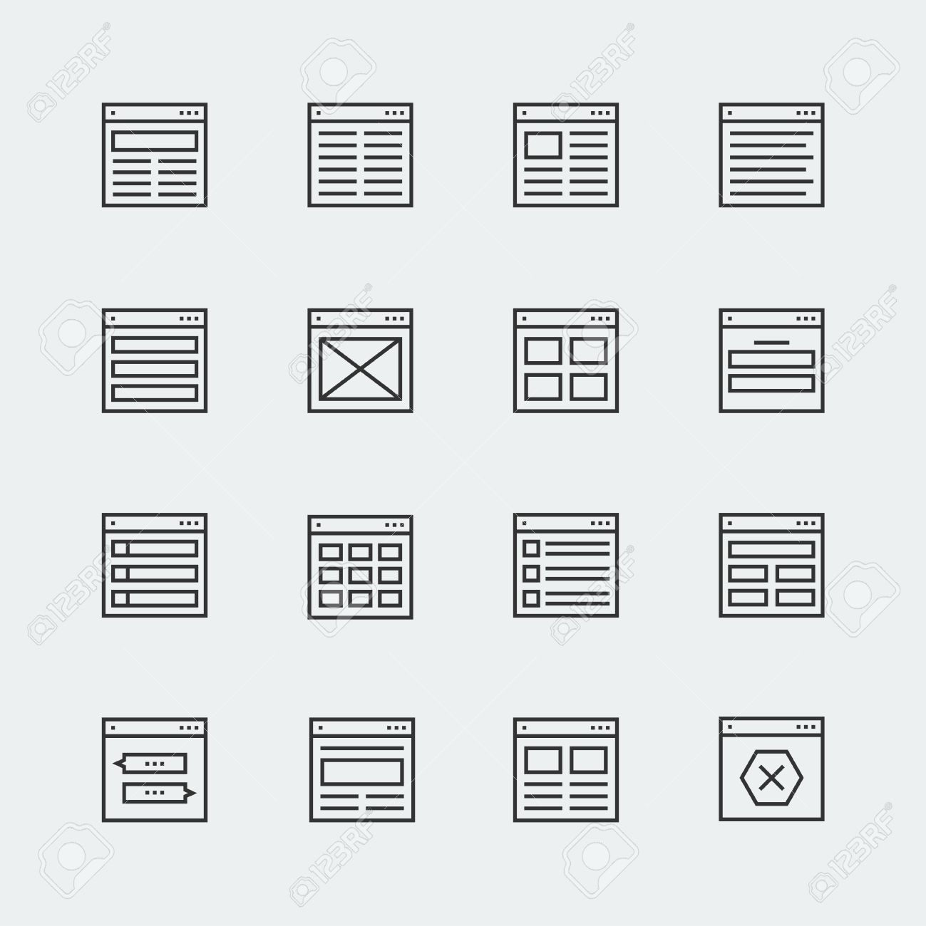 Website Or Application Wireframe Template And Design Layout Icons ...