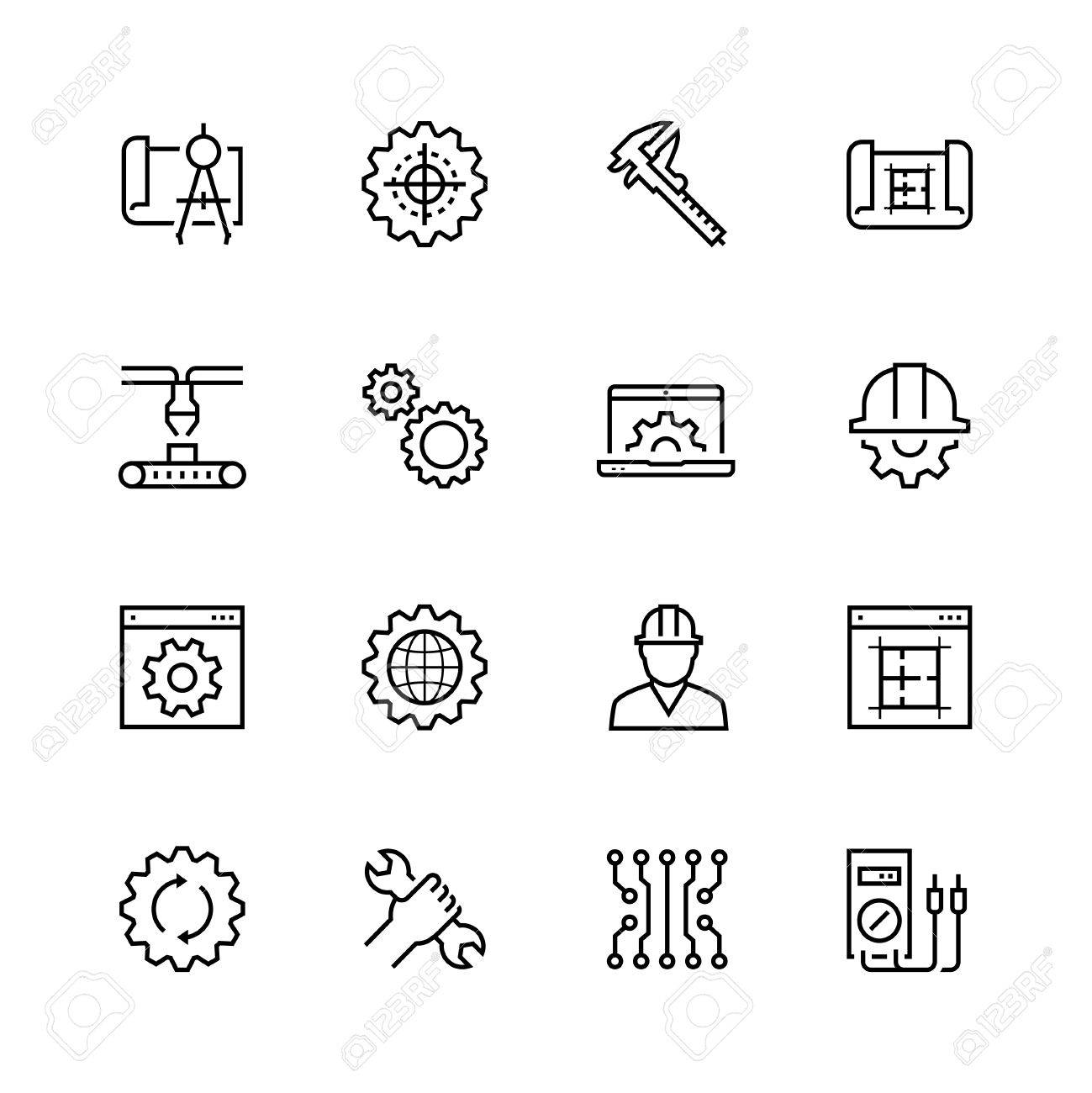Engineering and manufacturing vector icon set in thin line style - 58521143
