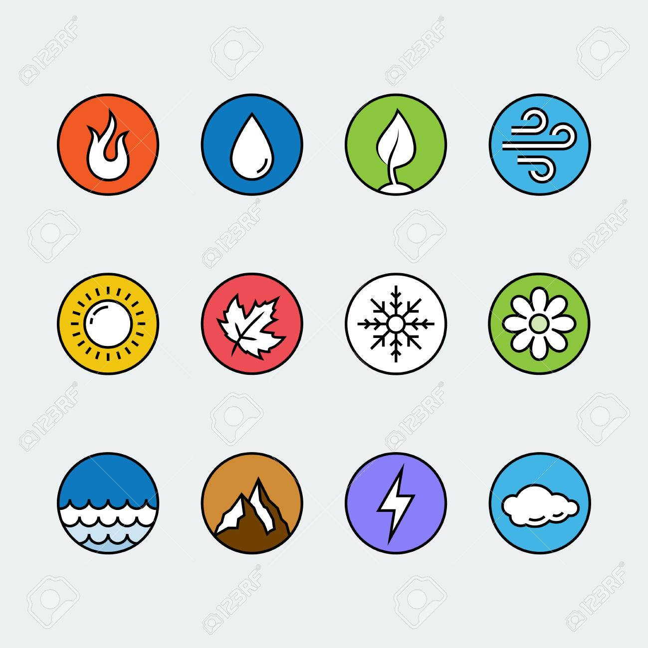 Vector Round Icon Set Of Fire Water Earth And Air Elements