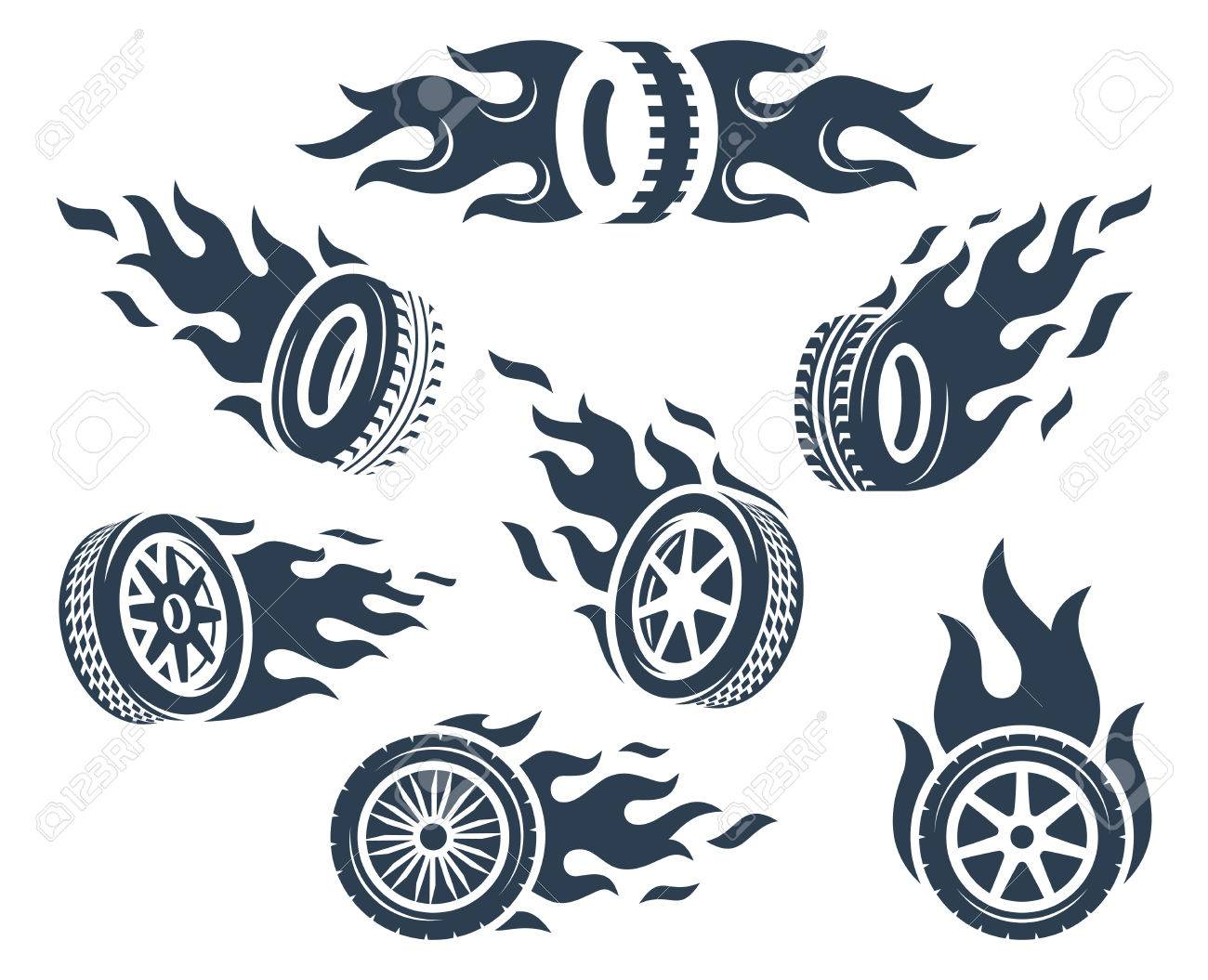 Set of wheels silhouettes with fire flame - 58521166