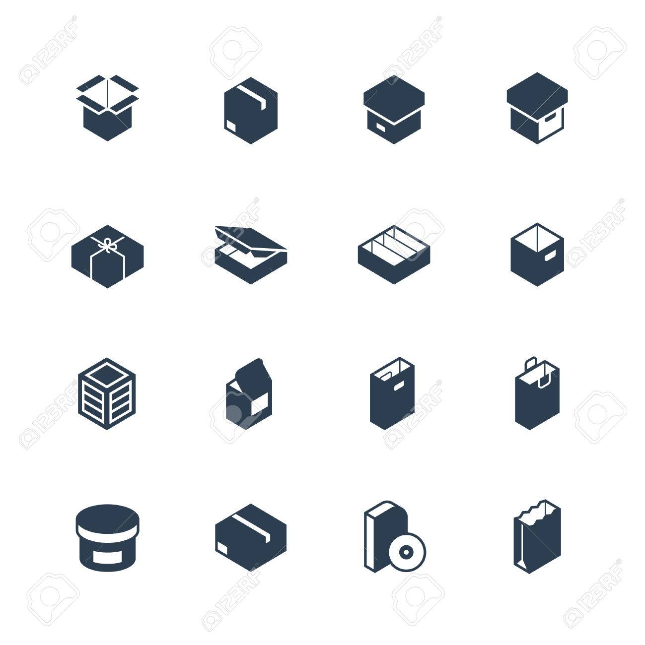 Set of package types vector icons - 58521174