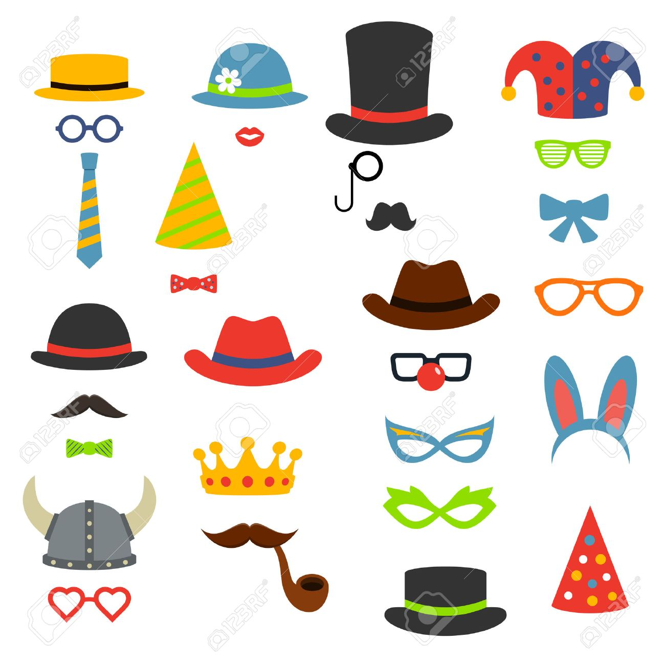 Birthday party photo booth props, vector flat style illustration - 58521175