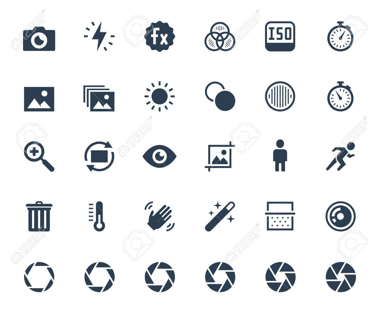 Photography and digital camera related vector icon set - 58521204