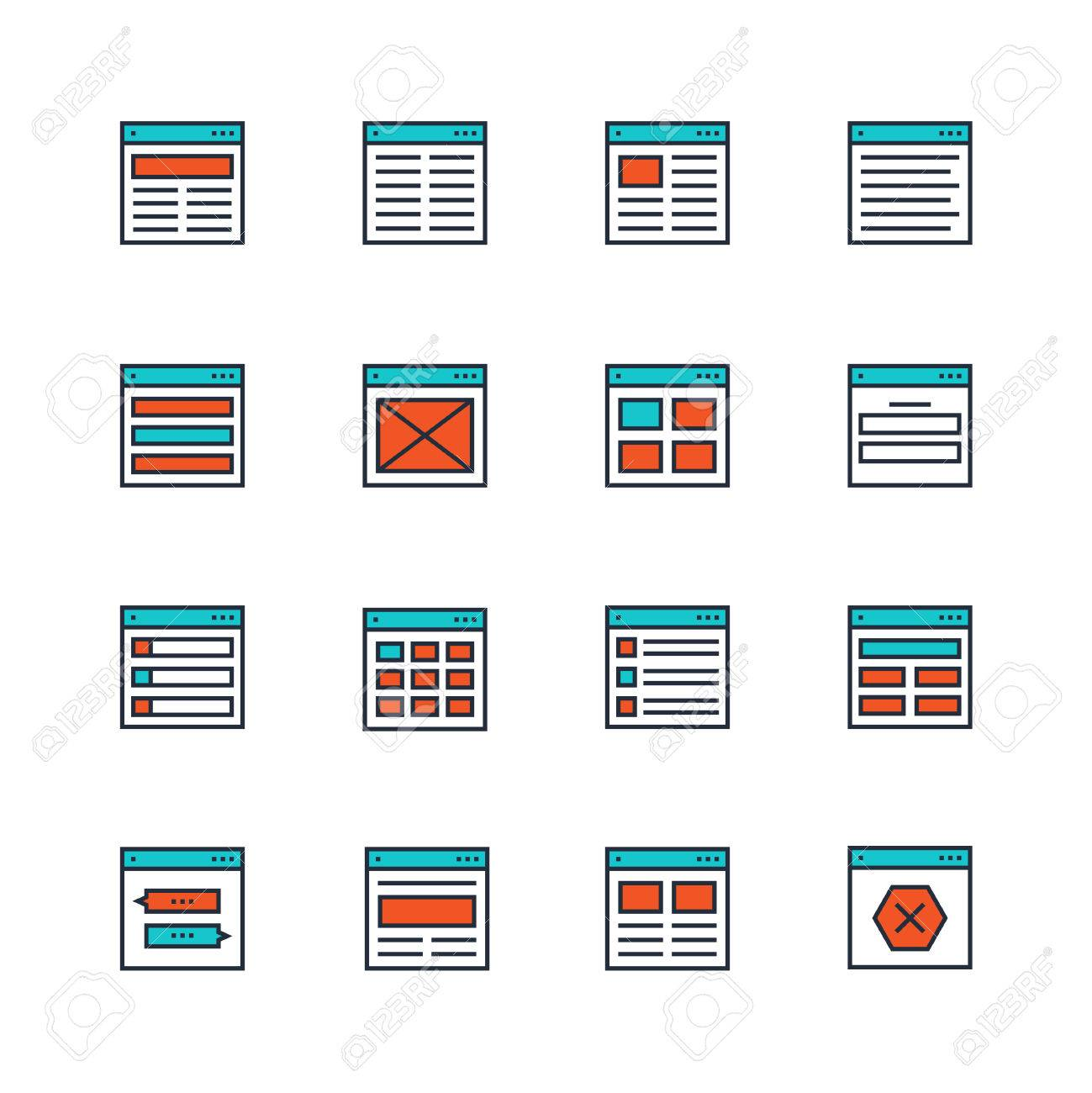 Website Or Application Wireframe Template And Design Layout Colored ...