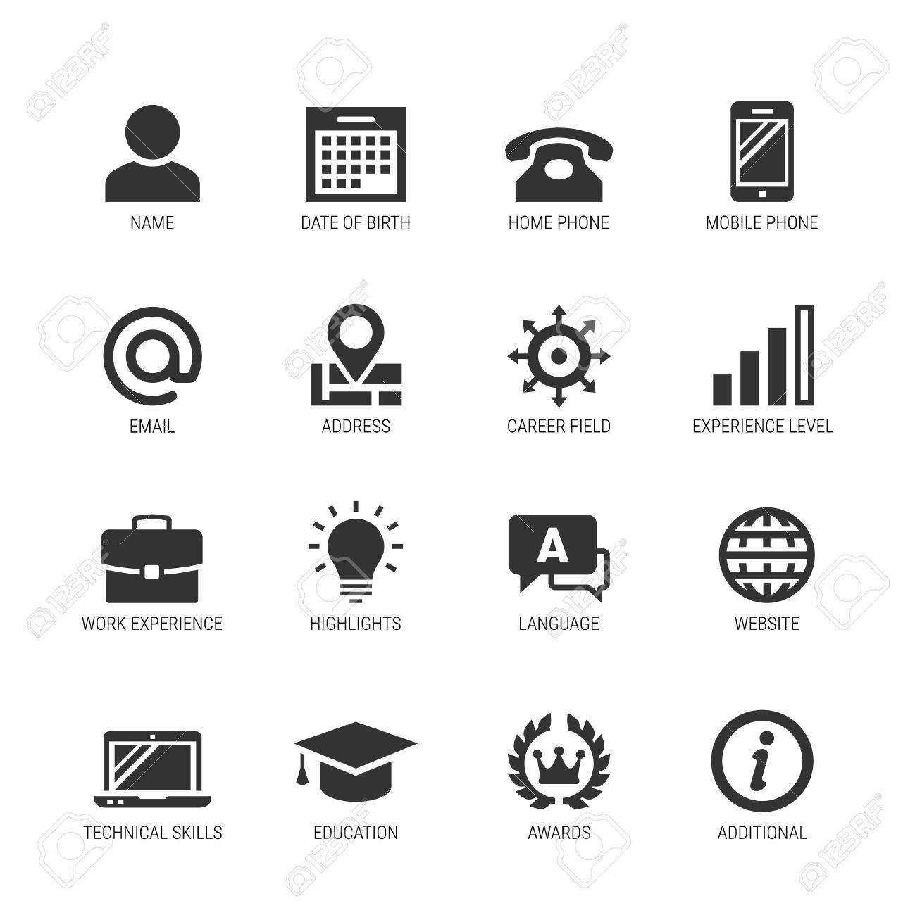 curriculum vitae icons  Resume Or Curriculum Vitae Related Vector Icon Set Royalty Free ...