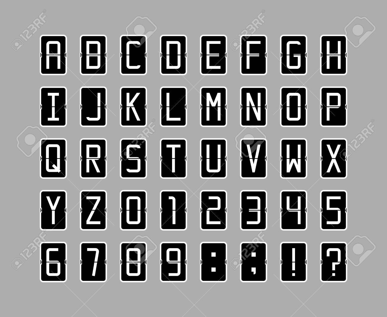 Vector font in black flip clock style