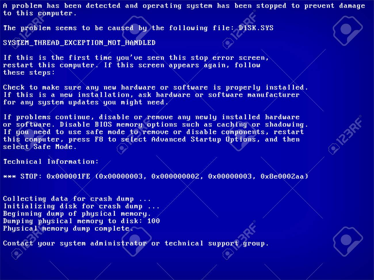 Blue screen of death BSOD. System crash error. Vector Illustration - 150401700