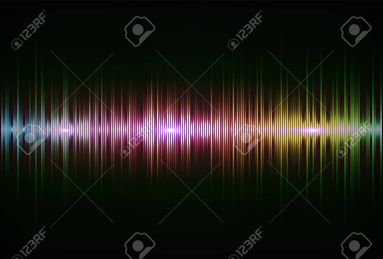 Rainbow sound wave, pulse of audio signal. Abstract spectrum equaliser - 150396784