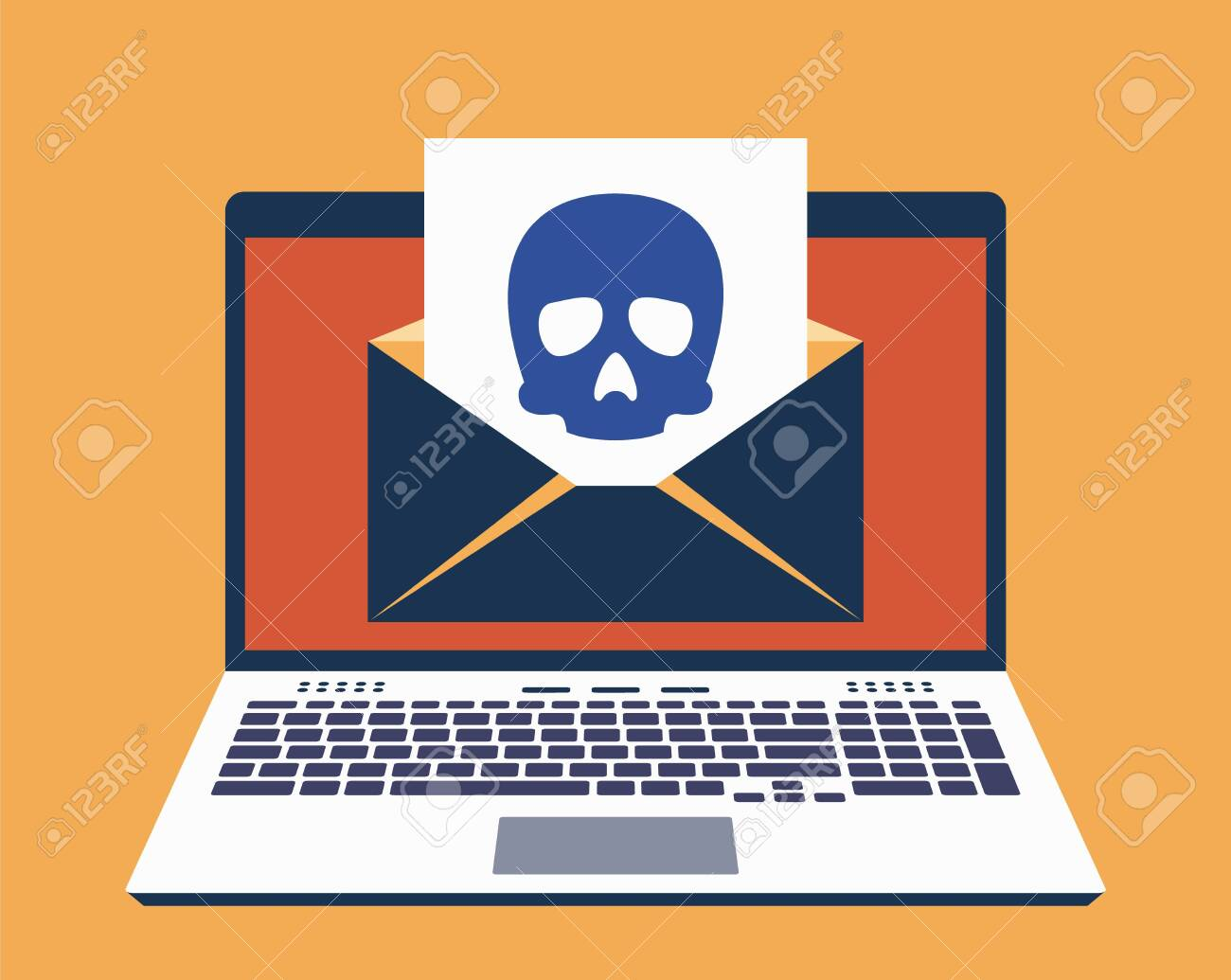 Laptop, E-Mail on Its Screen and Paper Leaf With Icon of Skull on It. Computer Virus Infected Mail Concept. Vector Illustration in Flat Design Style - 150609035