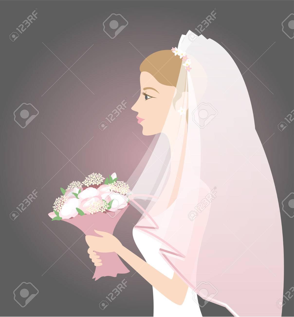 ベールと花束花嫁のイラストのイラスト素材ベクタ Image 33507237