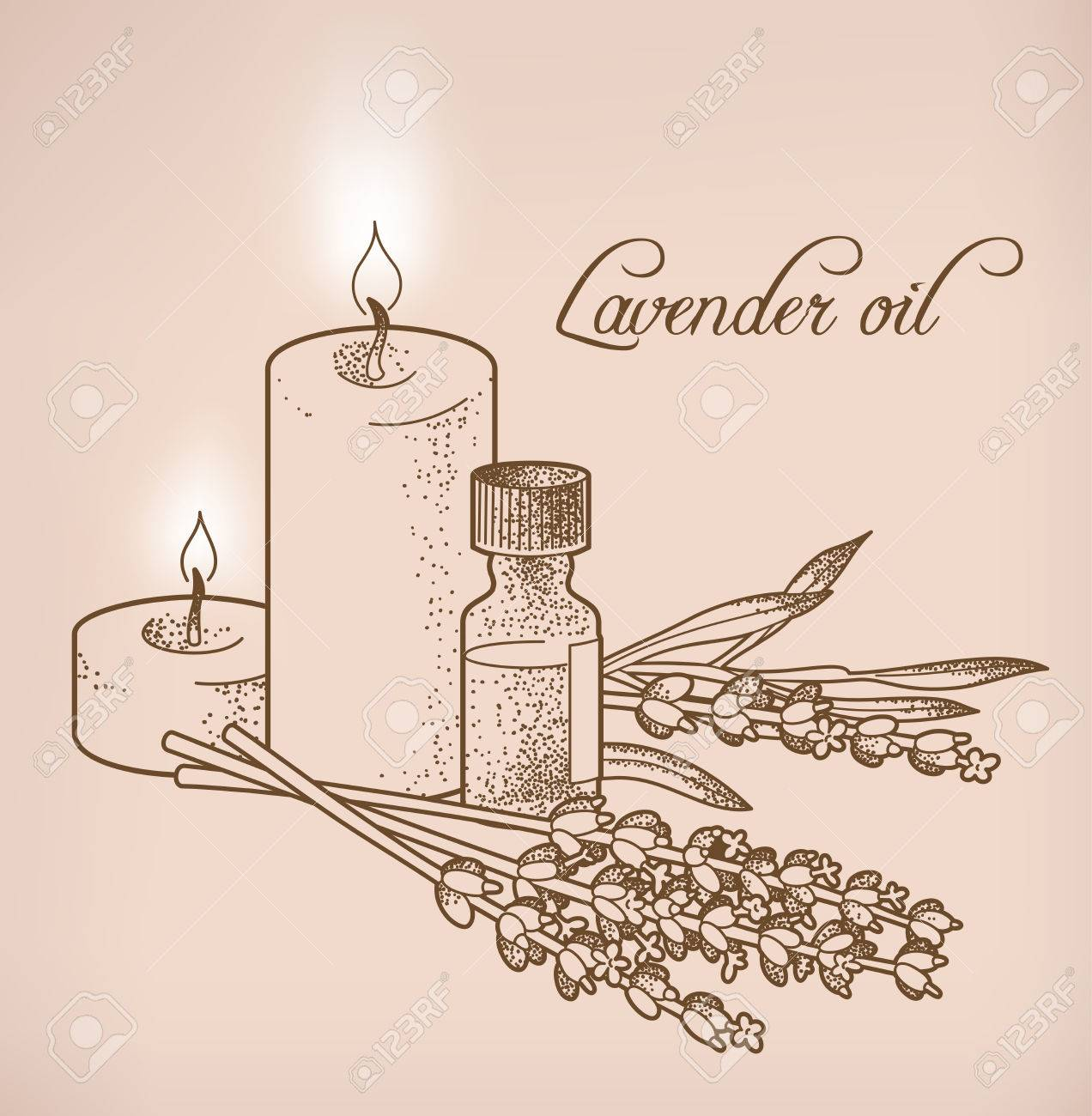 Illustration of lavender essential oil and candles - 38642640