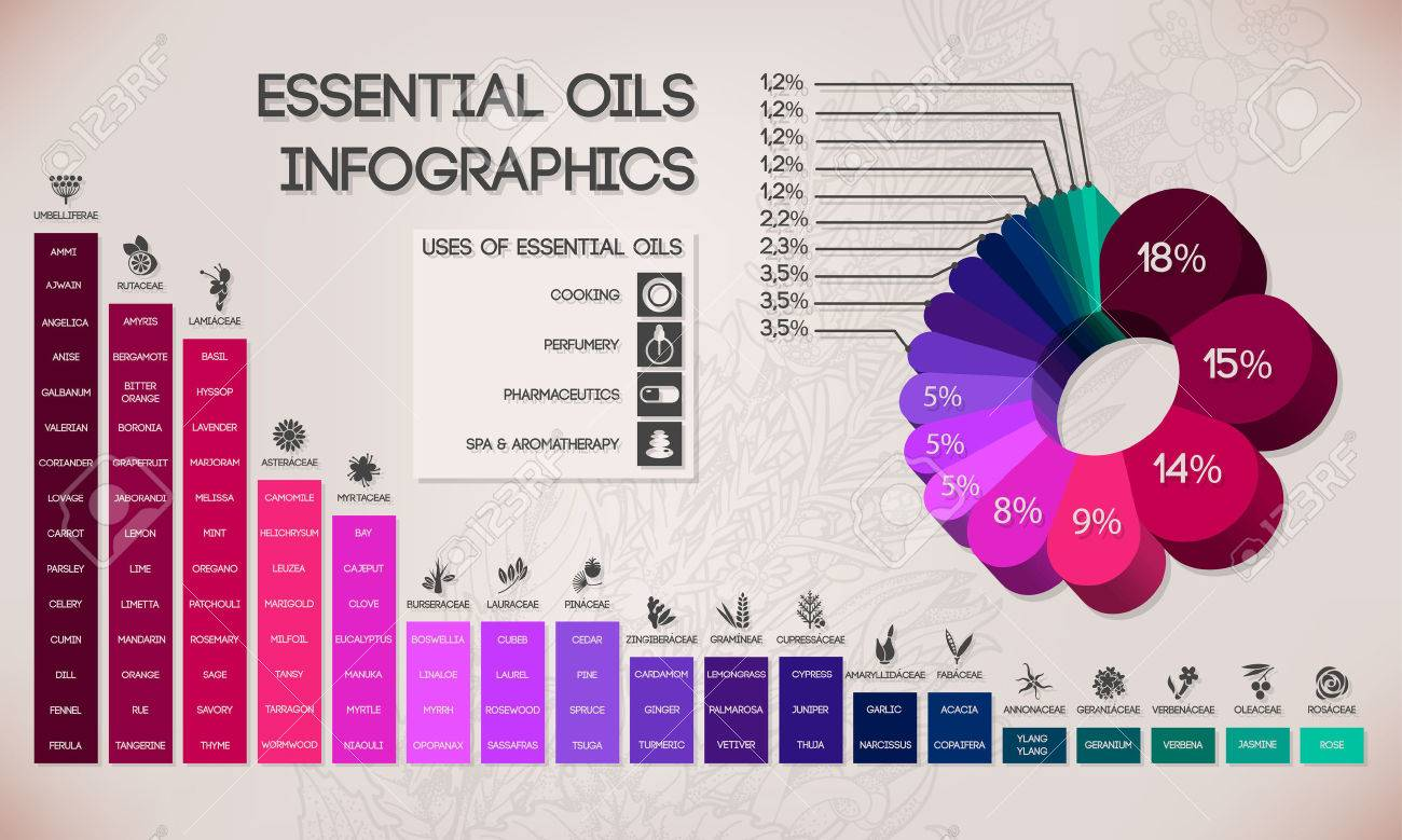 Essential oils classification, spa and aromatherapy infographics - 42736251