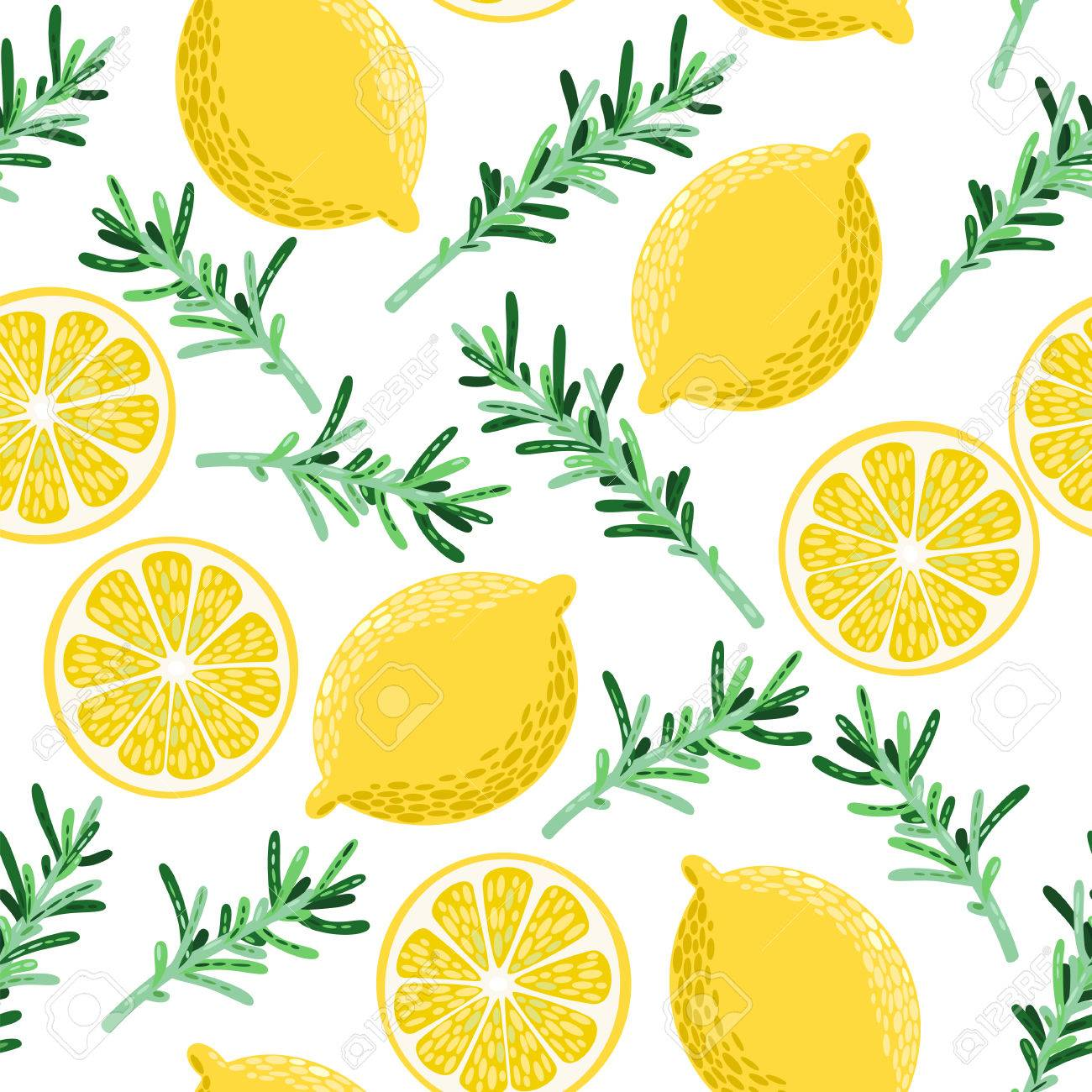 Colorful lemon and rosemary vector seamless background - 45533773