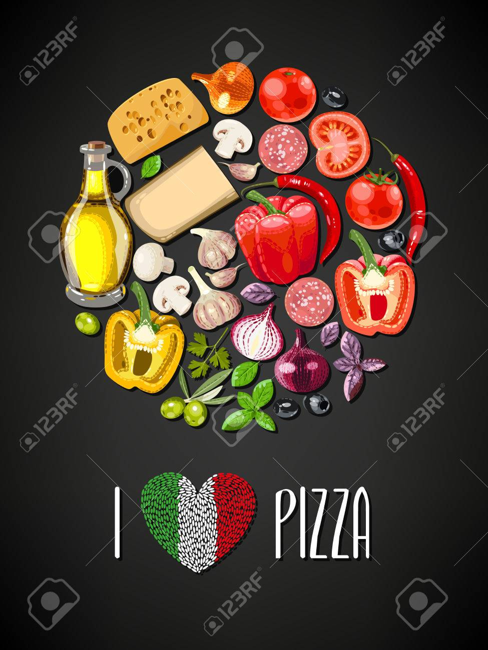 Colorful circle made of ingredients for pizza - 45967871
