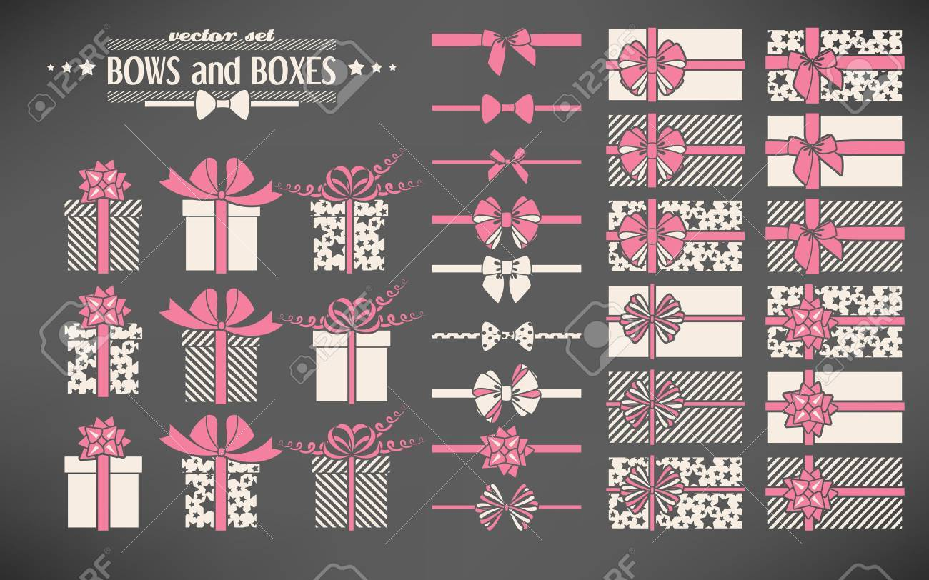 Vector set of simple bows and gift boxes - 48510566