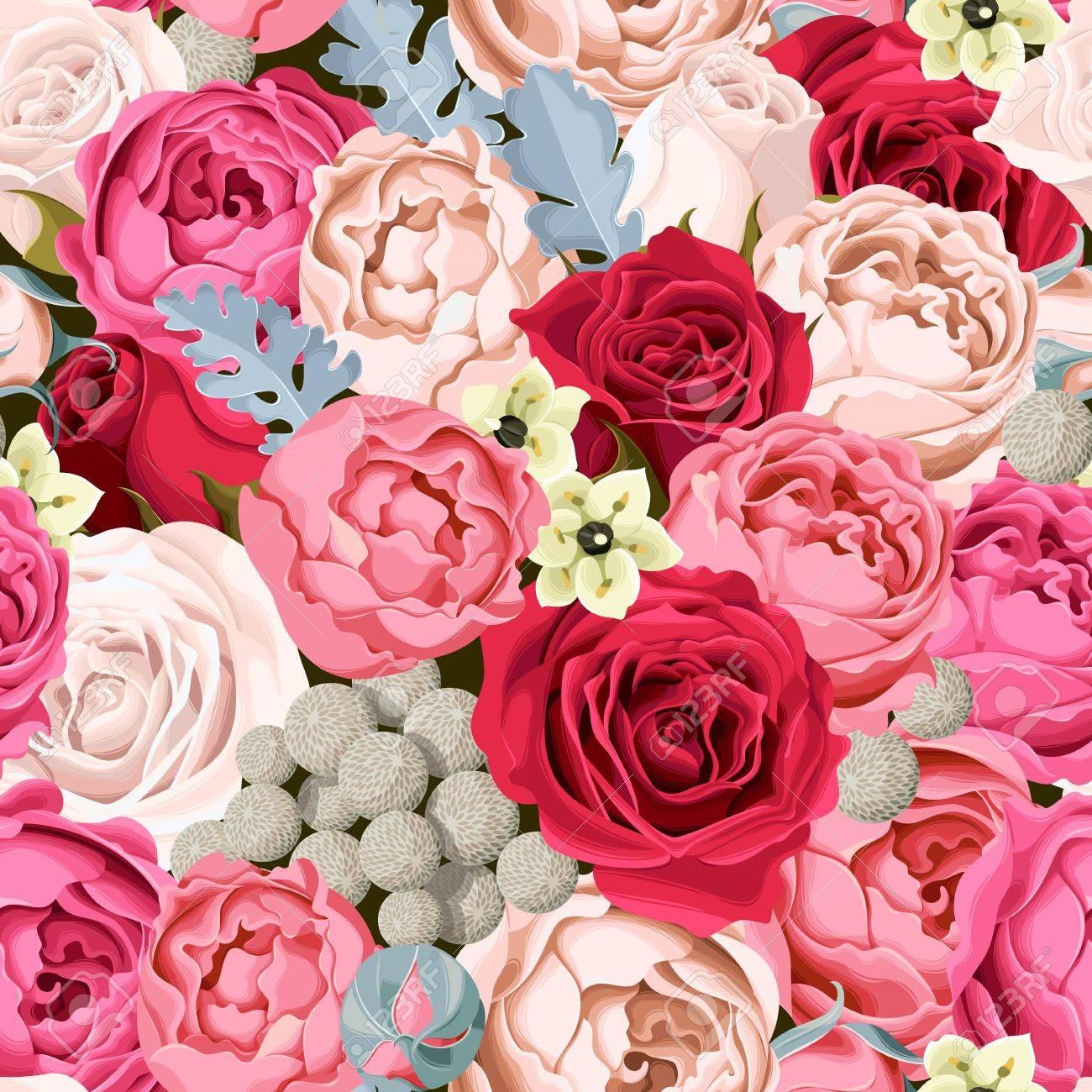 Vintage Hochzeit Blumen Nahtlose Hintergrund Lizenzfrei Nutzbare