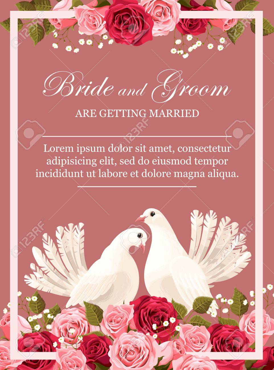Wedding Invitation With White Doves And Peony Roses Royalty Free ...