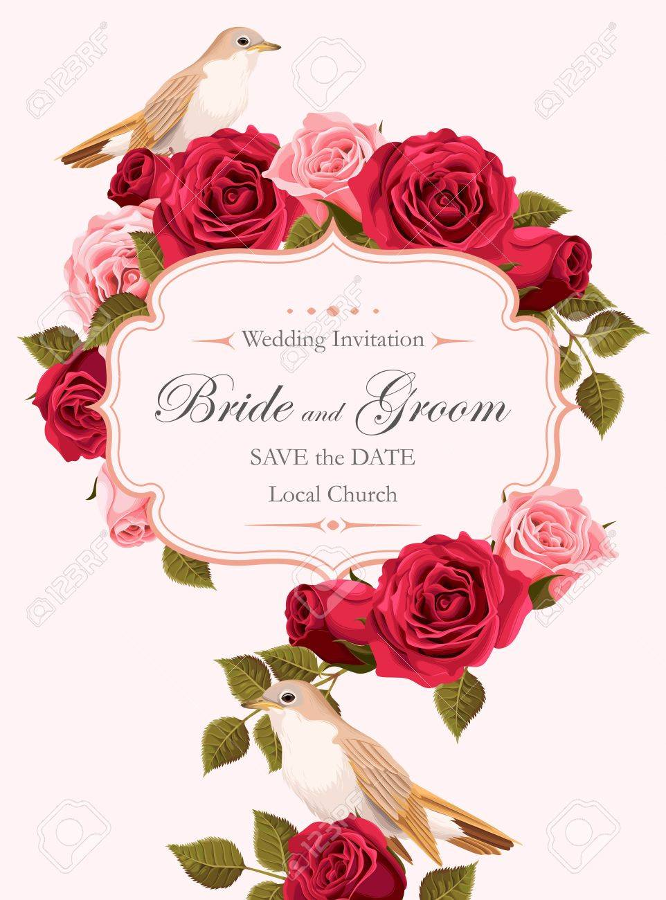 Vector Vintage Wedding Invitation With Pink And Red Roses And ...