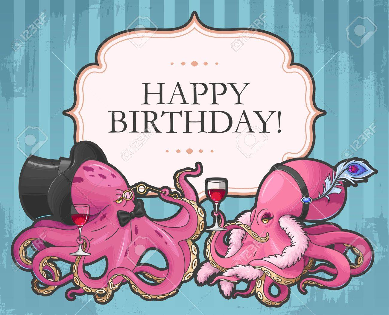 Vector Retro Birthday Card With Two Funny Octopuses Royalty Free