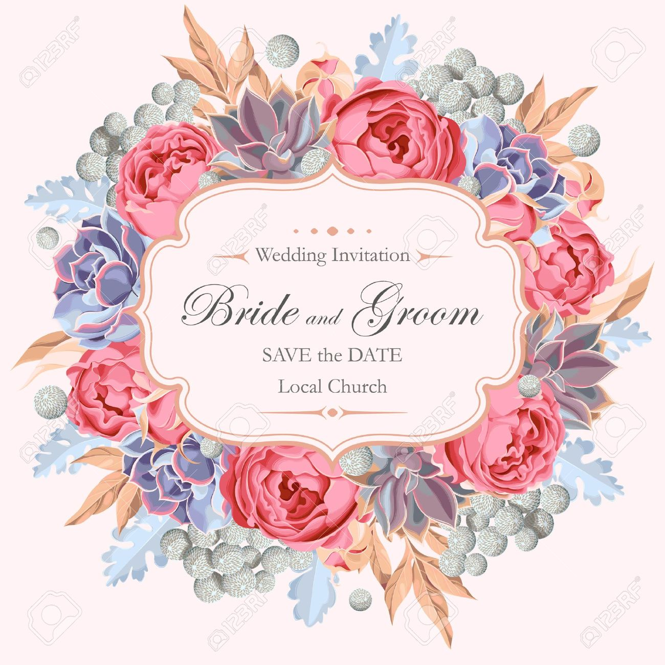 Vector vintage wedding invitation with peony roses and varicolored succulents - 57640361
