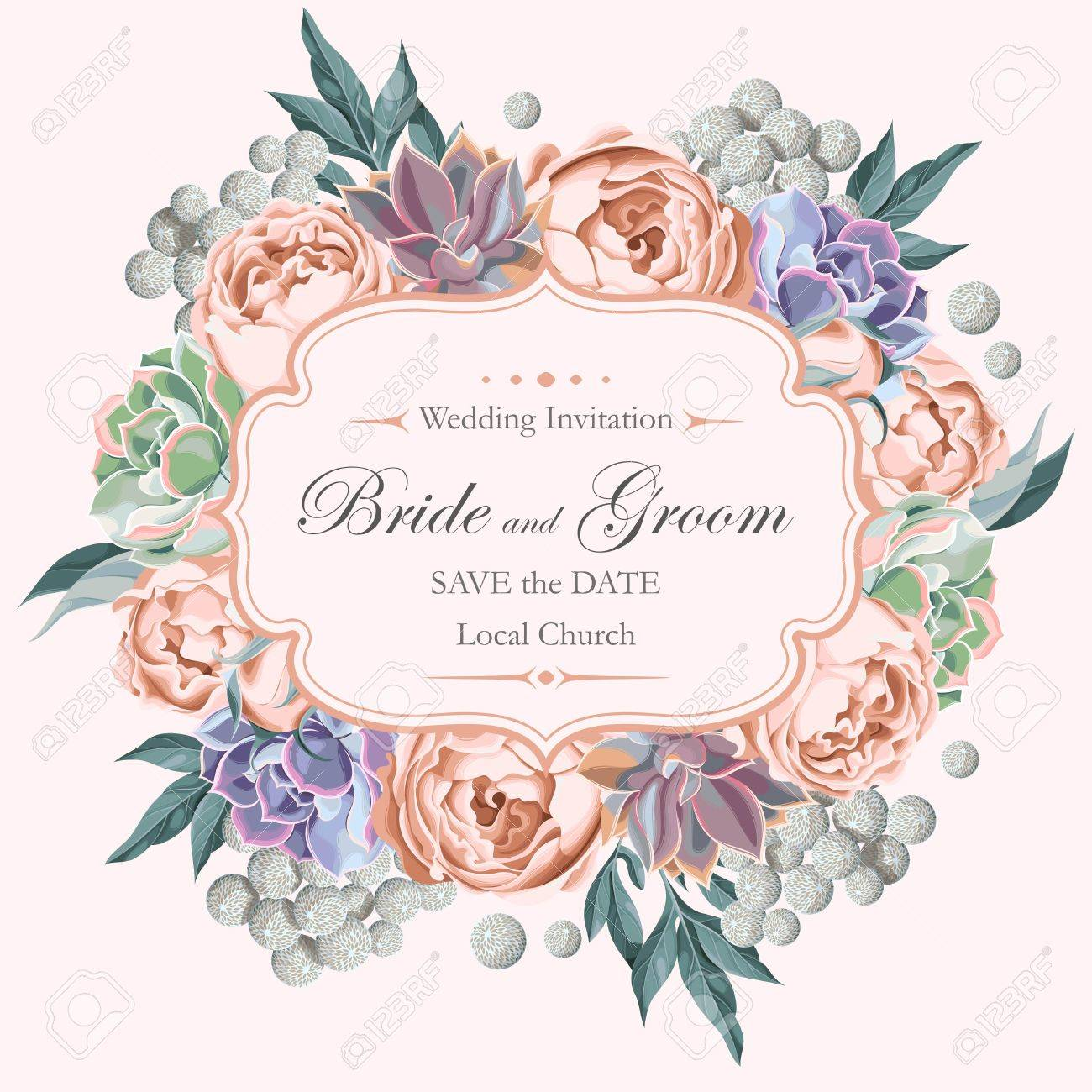 Vector vintage wedding invitation with peony roses and varicolored succulents - 57640367