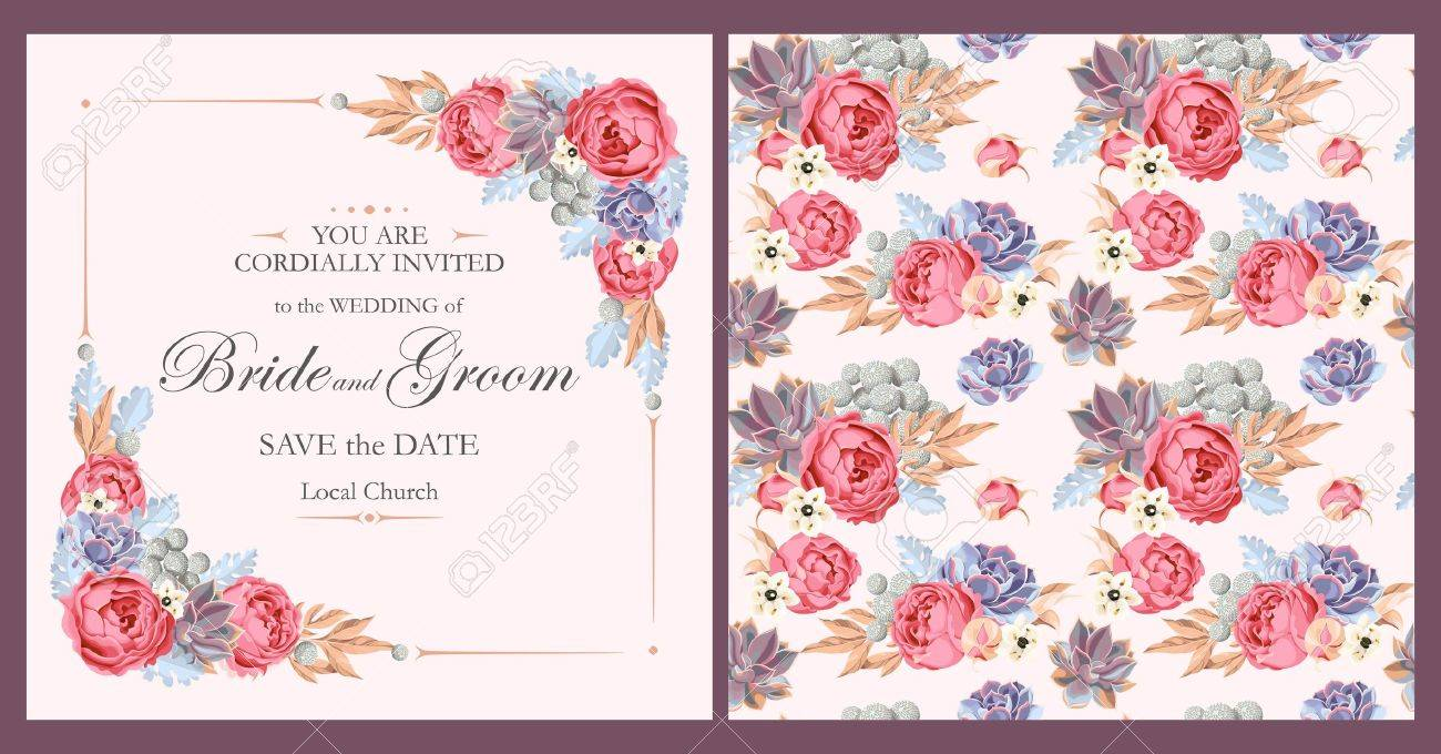 Vector vintage wedding invitation with peony roses and varicolored vector vector vintage wedding invitation with peony roses and varicolored succulents stopboris Images