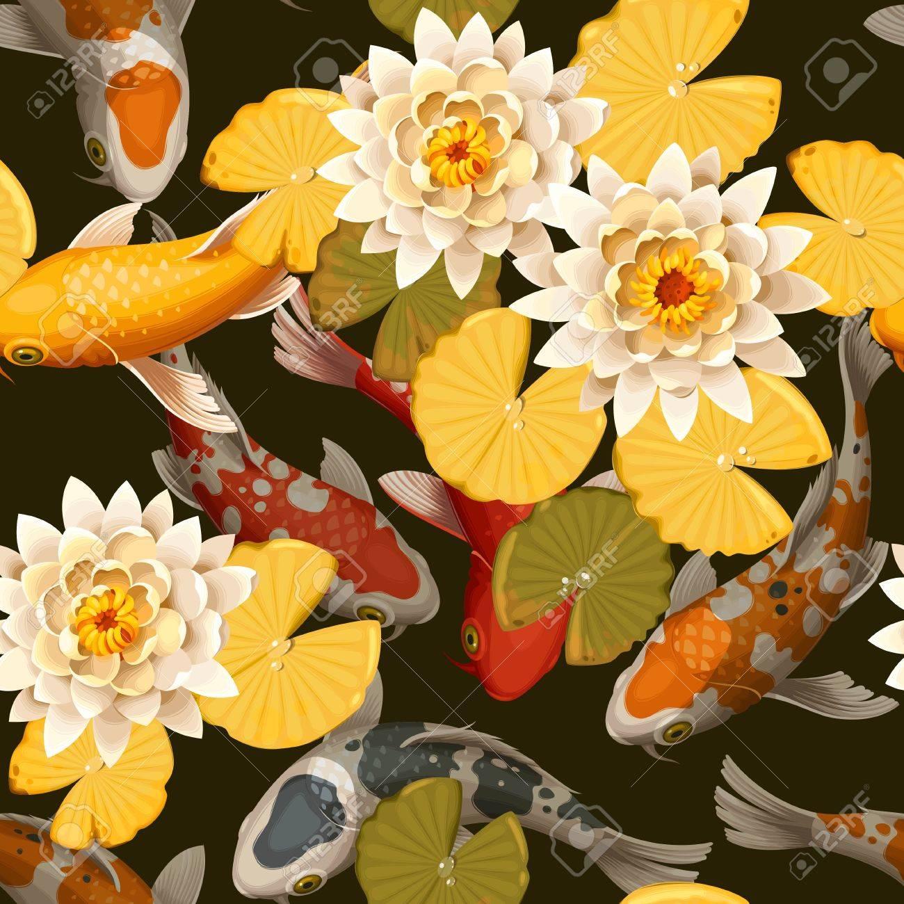 Koi carps and lotus vector seamless background - 63388708