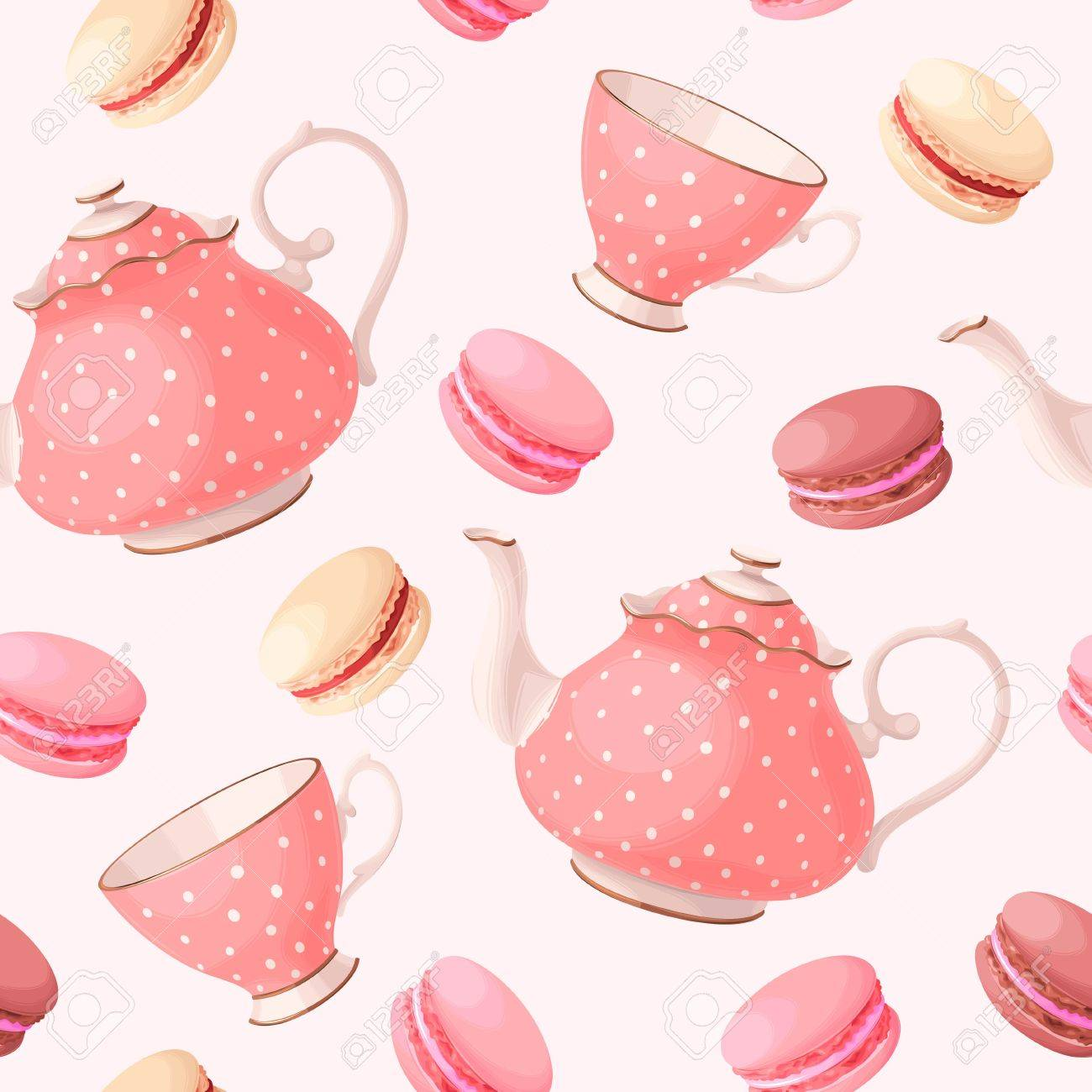 Vintage tea pots, cups and macaron vector seamless background - 63388709