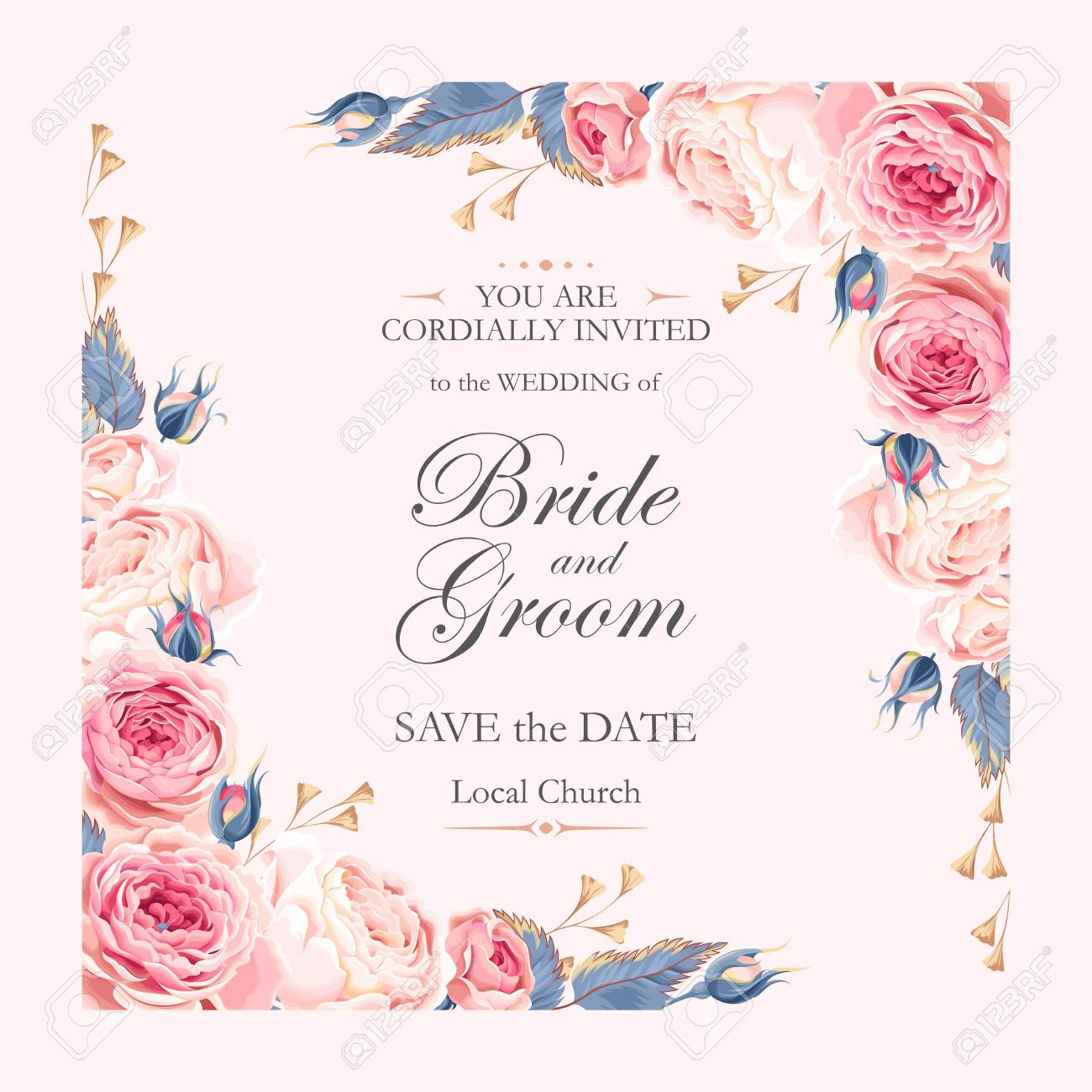 Vector vintage wedding invitation with beautiful english roses