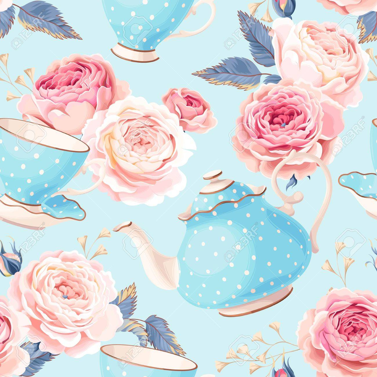 Vintage teapots, cups and flowers vector seamless background - 63794935
