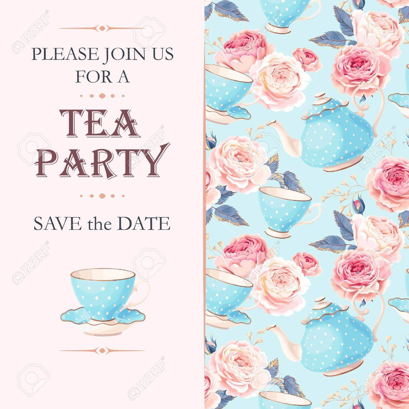 Vector tea party invitation with cups and flowers - 67481366