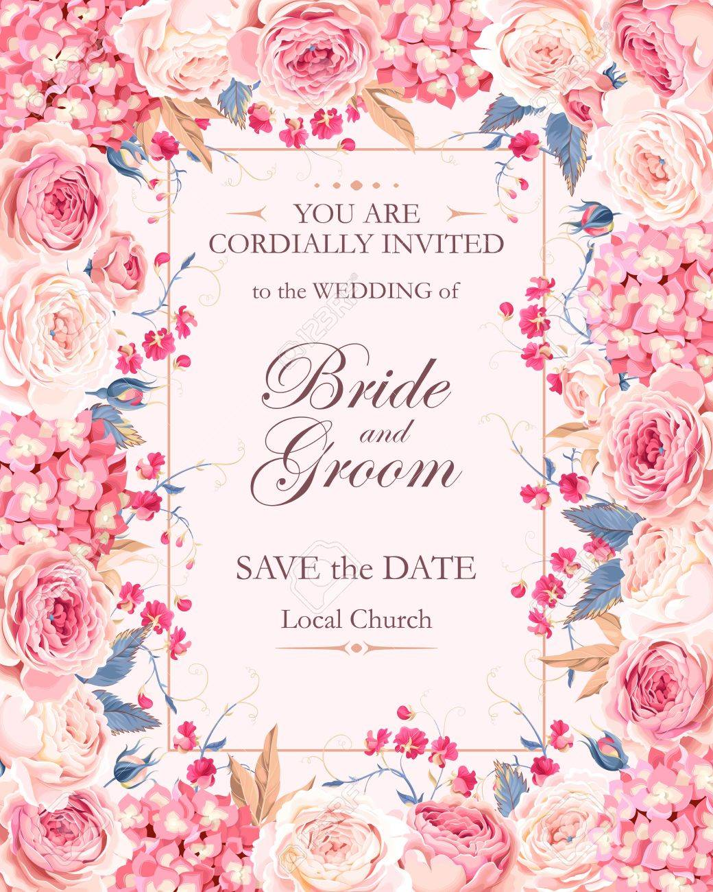 Vector vintage wedding invitation decorated with roses and hydrangea - 67378273