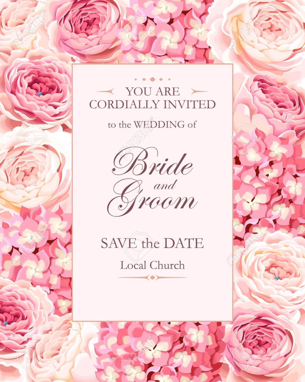 Vector vintage wedding invitation decorated with roses and hydrangea - 68300759
