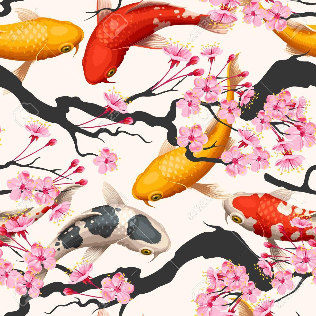 Koi fish and sakura seamless - 69543971