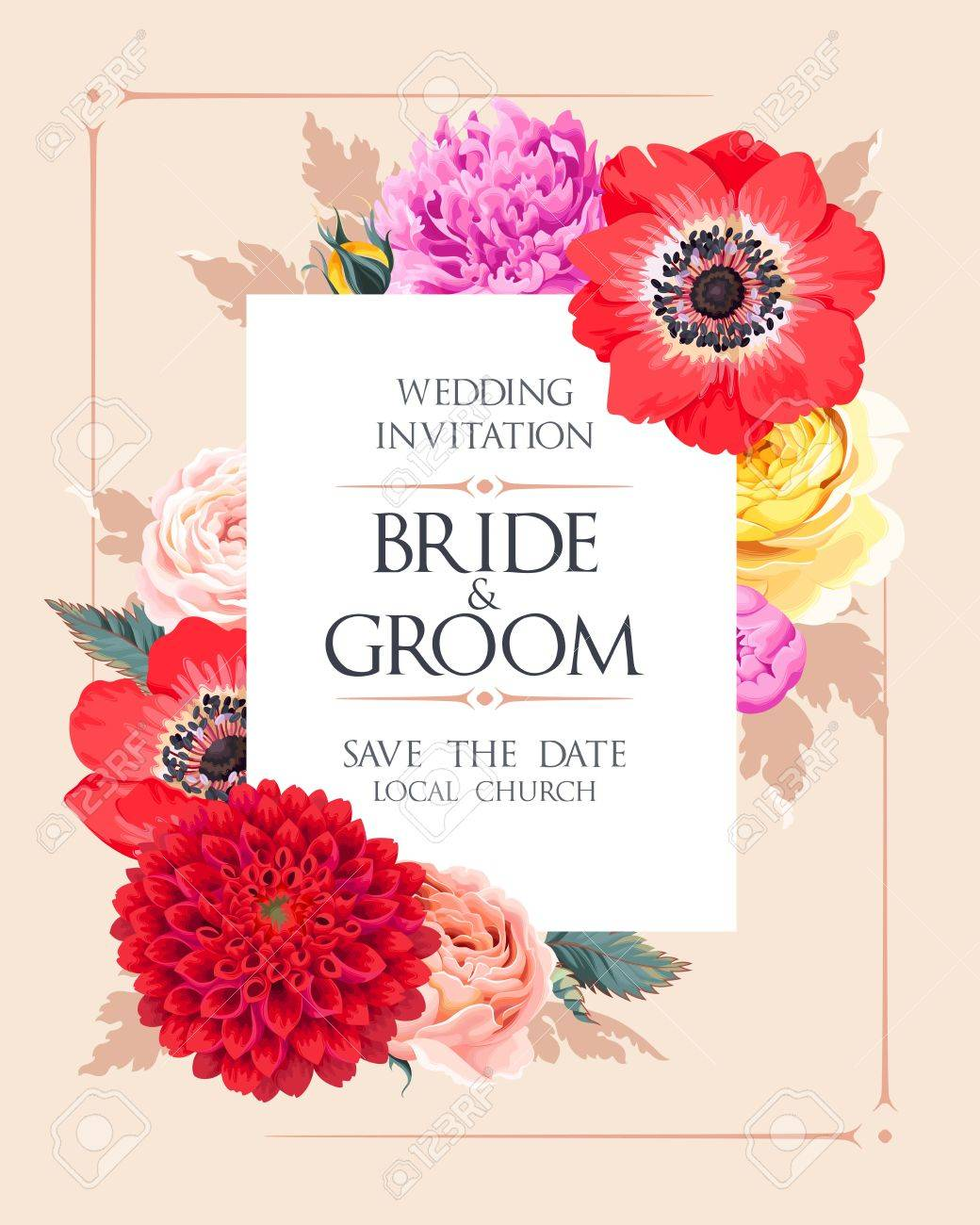 Wedding Invitation With Flowers Royalty Free Cliparts, Vectors, And ...