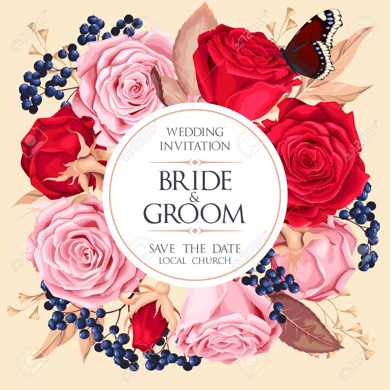 Vintage Wedding Invitation Royalty Free Cliparts, Vectors, And Stock ...