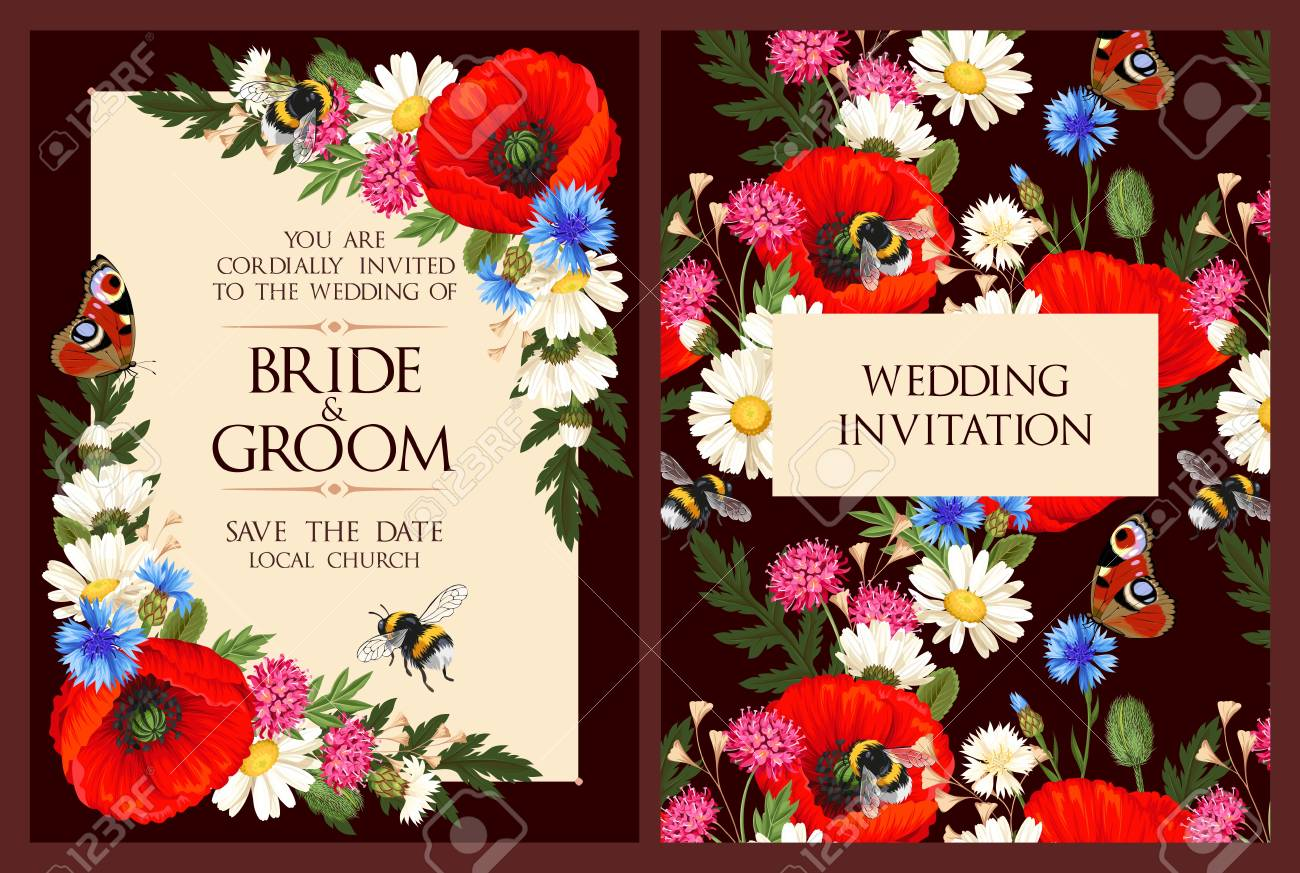 Vintage Wedding Invitation With High Detailed Flowers Royalty Free ...